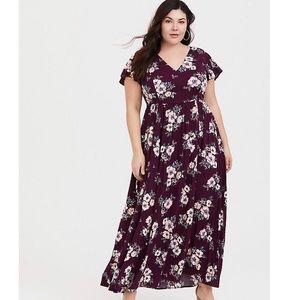 Torrid Burgundy Floral Maxi Dress